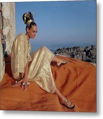 Marisa Berenson Wearing A Gold Caftan By Tina Metal Print