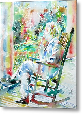 Mark Twain Sitting And Smoking A Cigar - Watercolor Portrait Metal Print by Fabrizio Cassetta