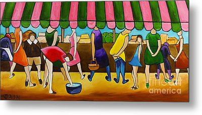 Market Day Under Pink Awning Metal Print by William Cain