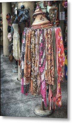 Market Scarves Metal Print by Brenda Bryant