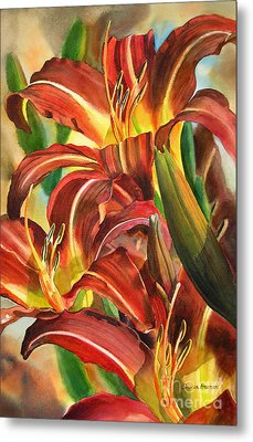 Maroon And Gold Lilies Metal Print by Sharon Freeman