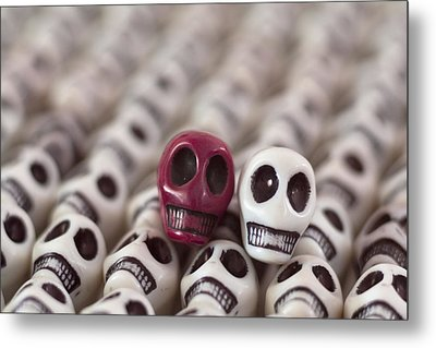 Maroon And White Metal Print by Mike Herdering