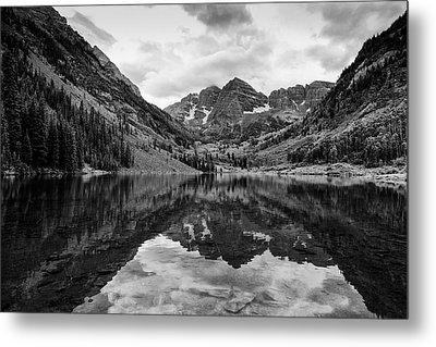 Maroon Bells - Aspen - Colorado - Black And White Metal Print by Photography  By Sai
