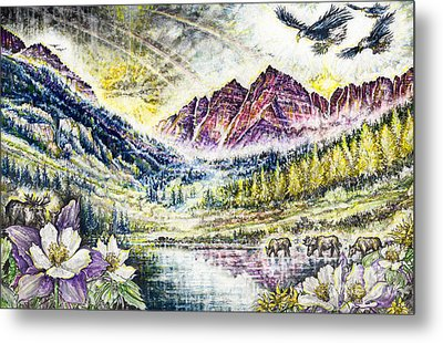 Maroon Bells  Metal Print by Scott and Dixie Wiley