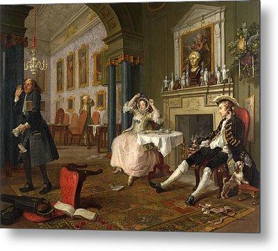 Marriage A-la-mode  The Tete A Tete Metal Print by William Hogarth