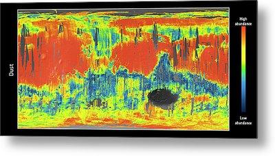Mars Dust Map Metal Print by Esa/cnes/cnrs/ias/universite Paris-sud, Orsay