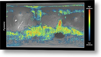 Mars Pyroxene Mineral Map Metal Print by Esa/cnes/cnrs/ias/universite Paris-sud, Orsay