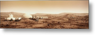 Mars Settlement Landscape With Farm Metal Print by Bryan Versteeg