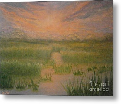 Metal Print featuring the painting Marsh Sunset by Holly Martinson