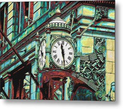 Marshall Fields Clock Chicago Metal Print