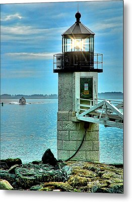 Marshall Point Light And Boat Metal Print by Carolyn Fletcher