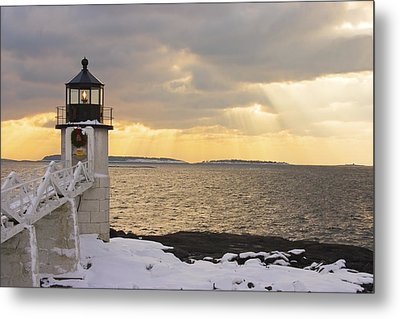 Marshall Point Lighthouse In Winter Maine  Metal Print by Keith Webber Jr