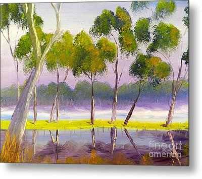Metal Print featuring the painting Marshlands Murray River Red River Gums by Pamela  Meredith