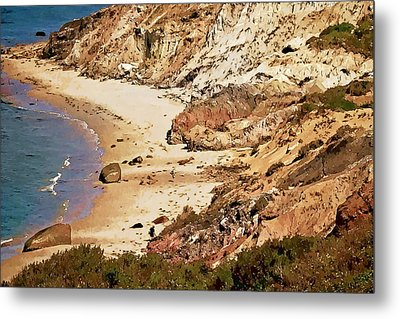 Metal Print featuring the photograph Marthas Vineyard Gay Head Cliffs  Photo Art by Constantine Gregory