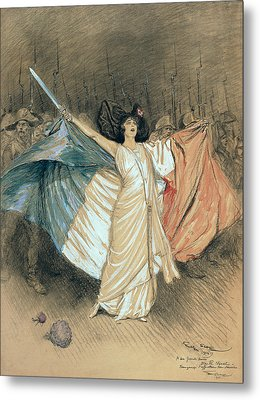Marthe Chenal Singing La Marseillaise Metal Print by Georges Bertin Scott