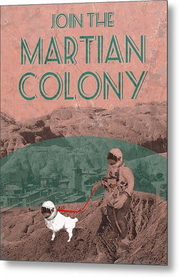 Martian Colony Mars Travel Advertisement Metal Print by