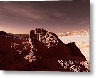 Martian Impact Crater Metal Print by Detlev Van Ravenswaay