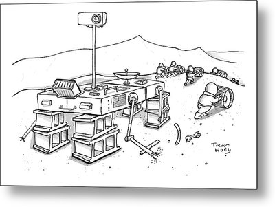 Martians Are Stealing The Tires On A Martian Metal Print