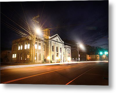 Martin County Courthouse At Night 2 Metal Print by Lisa Sorrell