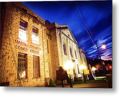 Martin County Courthouse At Night Metal Print by Lisa Sorrell