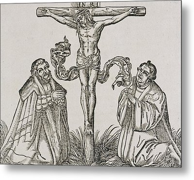 Martin Luther And Frederick IIi Of Saxony Kneeling Before Christ On The Cross Metal Print by German School