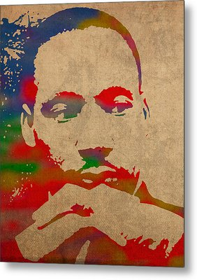 Martin Luther King Jr Watercolor Portrait On Worn Distressed Canvas Metal Print