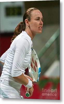 Martina Hingis In Doha Metal Print by Paul Cowan