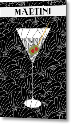 1920s Martini Cocktail Art Deco Swing   Metal Print