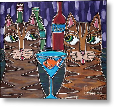Martini At Cat Bar Metal Print by Cynthia Snyder