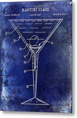 Martini Glass Patent Drawing Blue Metal Print by Jon Neidert