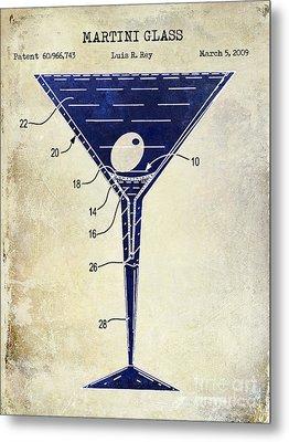 Martini Glass Patent Drawing Two Tone  Metal Print by Jon Neidert