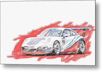 Martini Porsche 911 Gt3 Metal Print by Roger Lighterness