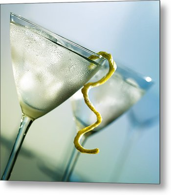Martini With Lemon Peel Metal Print
