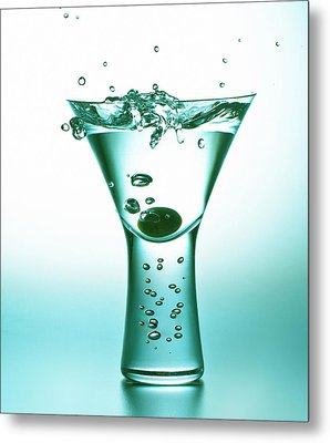 Martini With Olive Splash Metal Print