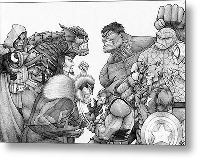 Marvel Group Metal Print by Rui Guerreiro