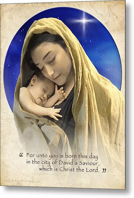 Mary And Baby Jesus Blue With Quote Metal Print