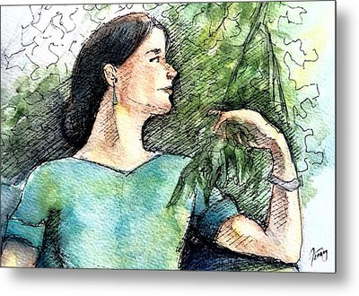 Mary In The Garden Metal Print by Mary Fanning