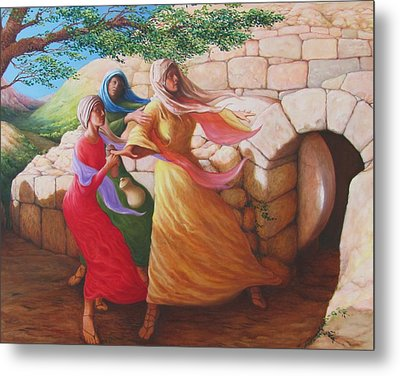Mary Magdalene Discovering The Empty Tomb Metal Print