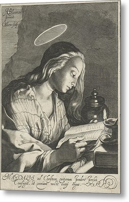 Mary Magdalene Reading, Cornelis Bloemaert II Metal Print