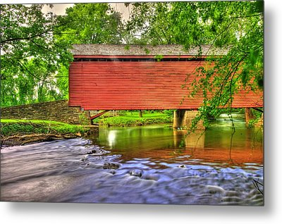 Maryland Country Roads - Peaceful Crossing - Loys Station Covered Bridge 3a Spring Metal Print by Michael Mazaika
