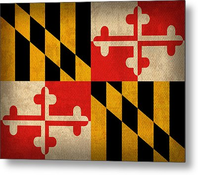 Maryland State Flag Art On Worn Canvas Metal Print by Design Turnpike