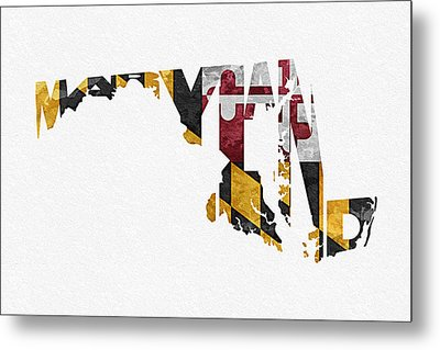 Maryland Typographic Map Flag Metal Print by Ayse Deniz