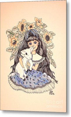 Mary's Lamb Metal Print by Lenora Brown
