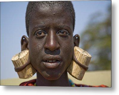 Masai Male With Huge Ear Piercings Metal Print by David Litschel
