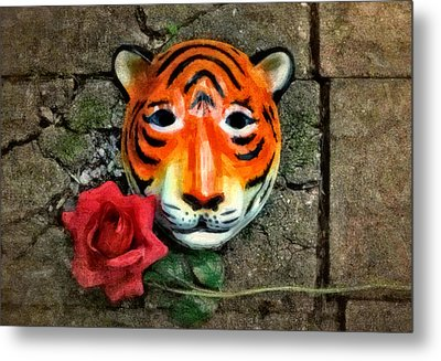 Mask And Rose Metal Print by Jeff  Gettis