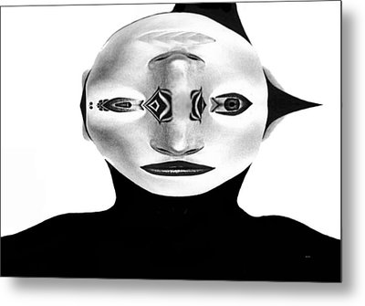 Metal Print featuring the painting Mask Black And White by Rafael Salazar