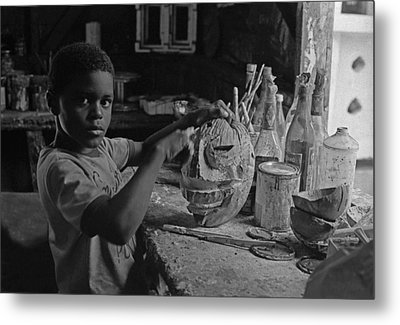 Mask Maker Metal Print
