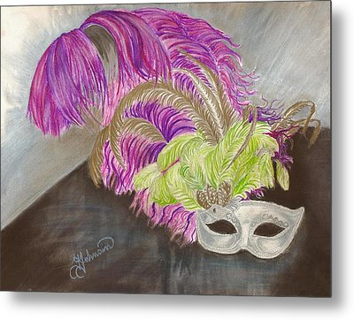 Metal Print featuring the drawing Mask by Yolanda Raker