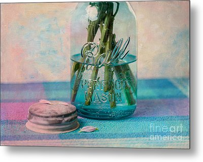 Mason Jar Vase Metal Print by Kay Pickens