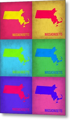 Massachusetts Pop Art Map 1 Metal Print by Naxart Studio